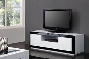 SOLDES Meuble TV Meuble Tv Design Blanc Et Noir