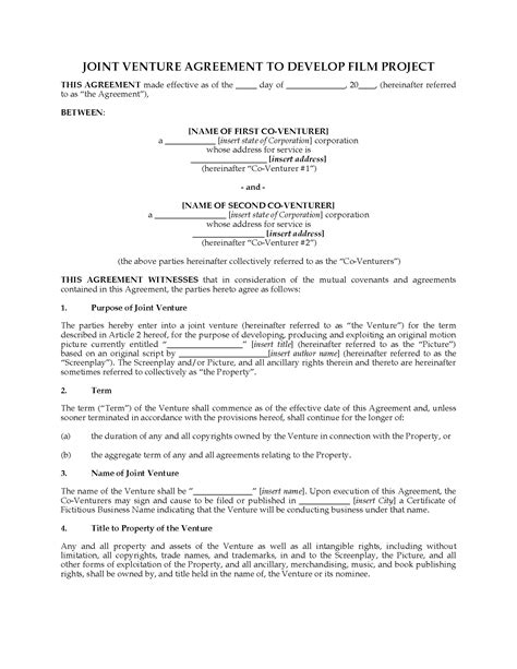 joint venture agreement template project joint venture agreement forms and business templates megadox