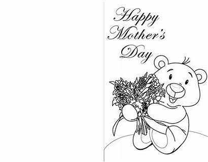 Cards Coloring Mother Printable Mothers Card Happy