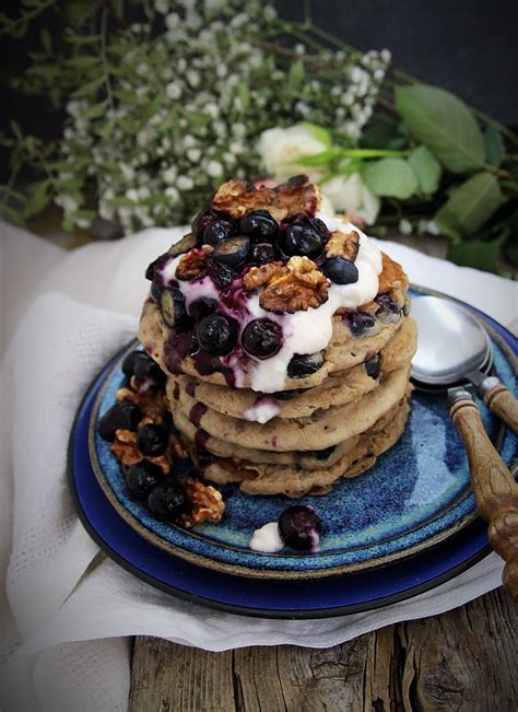 banana blueberry buckwheat pancakes  blueberry compote