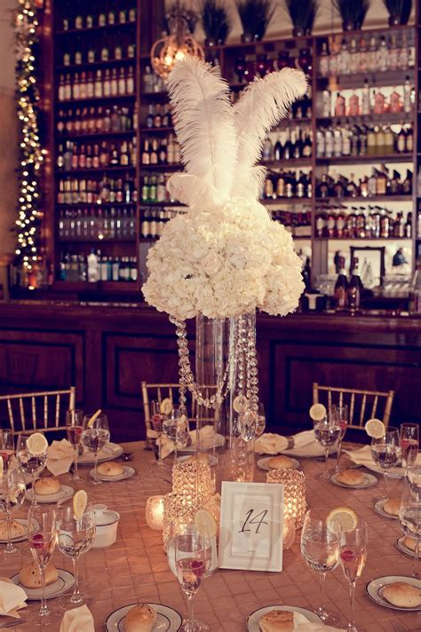 40 great gatsby wedding centerpieces ideas 25 Feather