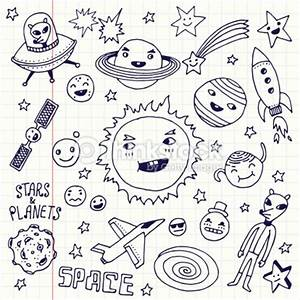 Stars And Planets Doodle Set School Notebook Vector Art ...