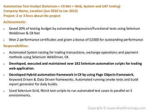 Sle Resume For Selenium Automation Testing by Selenium Automation Testing Resume 53 Images Selenium