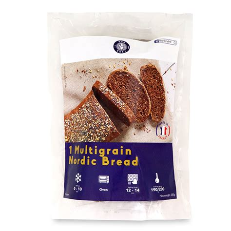 For baking in a traditional oven, bake in a 350 degrees f oven for 25 to 30 minutes or until the bread reaches an internal temperature of 190 degrees f. Frozen France Bon Chef Multigrain Nordic Bread (1pc) 330g ...