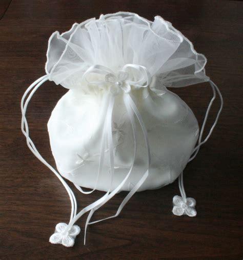 white ivory satin bridal dolly bag wedding flowergirl