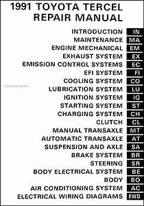 1991 Toyota Tercel Repair Shop Manual Original