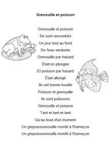 chanson grenouille  poisson paroles illustrees de la