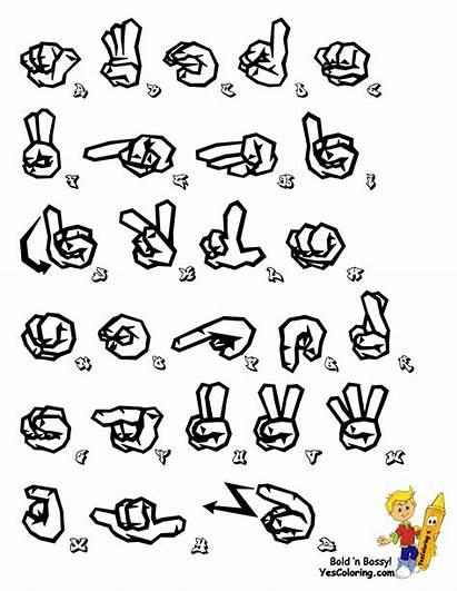 Language Sign Alphabet Graffiti Printable Coloring Pages