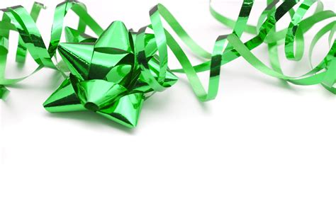 photo of festive green ribbon and bow free christmas images