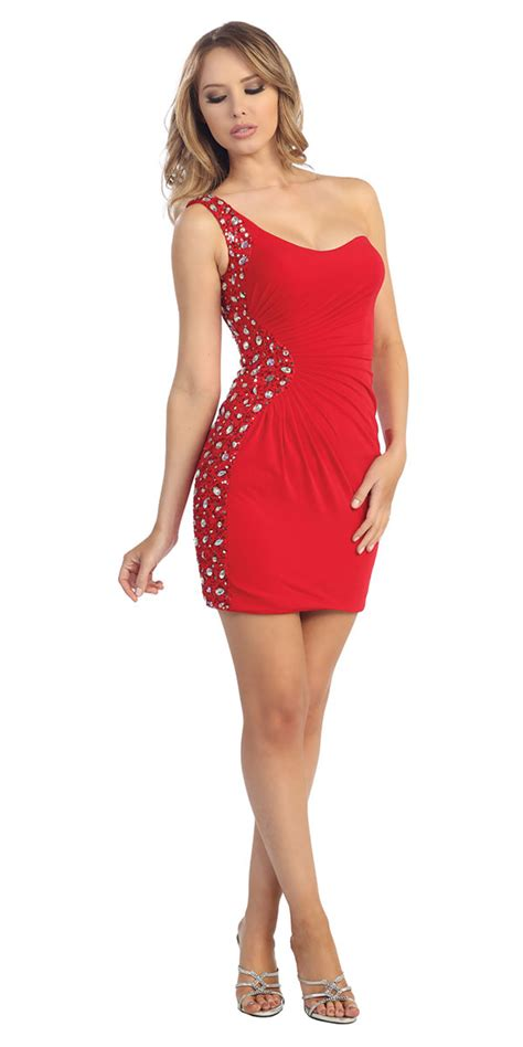 red form fitting short party dress red prom homecoming