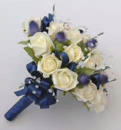 wrist corsages for prom ivory blue thistle brides wedding bouquet with