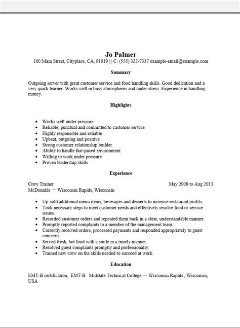 adobe pdf resume template free entry level server resume template sle ms word