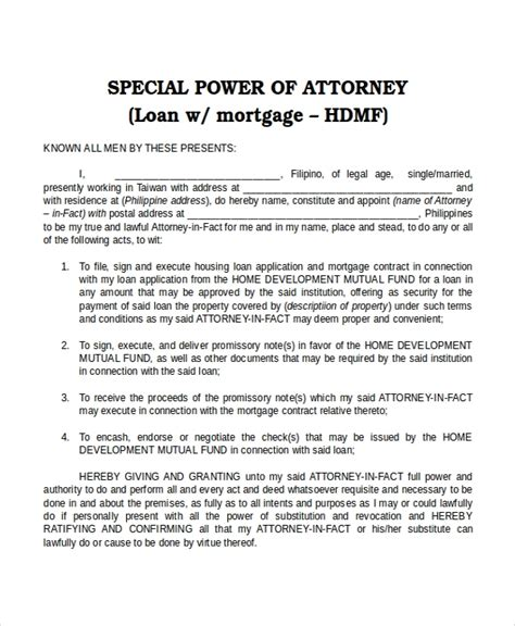 power  attorney templates  sample