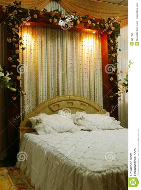 wedding bed decoration stock image image