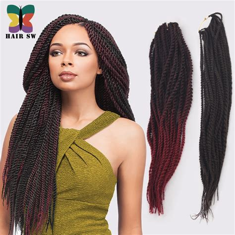 Ombre Senegalese twist Synthetic Hair afro Crochet Braid styles Pre Twisted Hair Extensions 2x ...