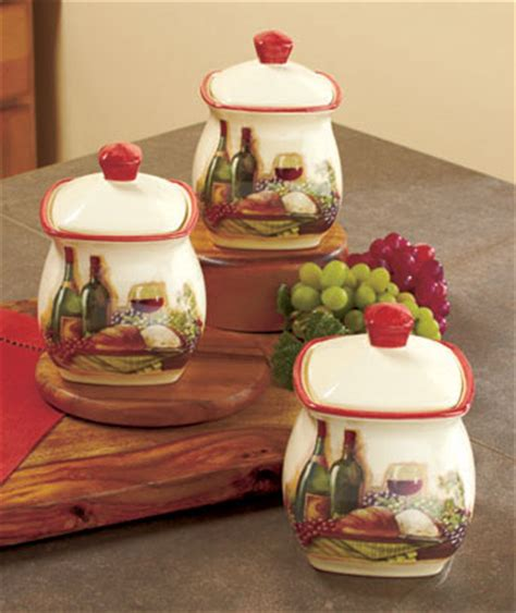 themed kitchen canisters 3 vineyard canister set wine bottle grape tuscan theme