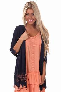 Navy Crochet 3/4 Sleeve Cardigan from Lime Lush Boutique
