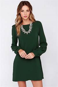Best 25+ Green long sleeve dress ideas on Pinterest | Green dress Shift dress outfit and Green ...