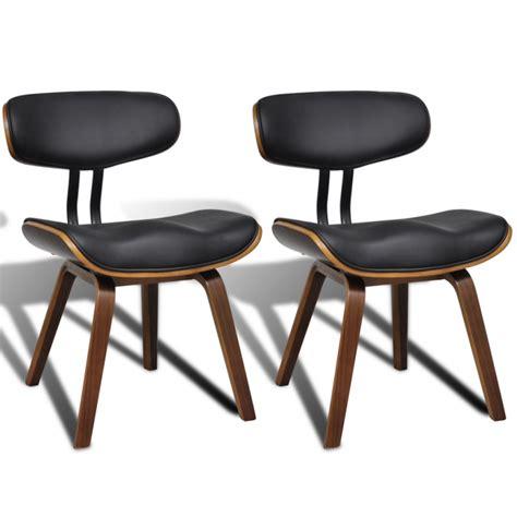 chaise bois et cuir 2 chaises de cuisine salon salle à manger design noir bois
