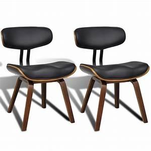 2 chaises de cuisine salon salle a manger design noir bois for Deco cuisine avec chaise cuir noir salle manger