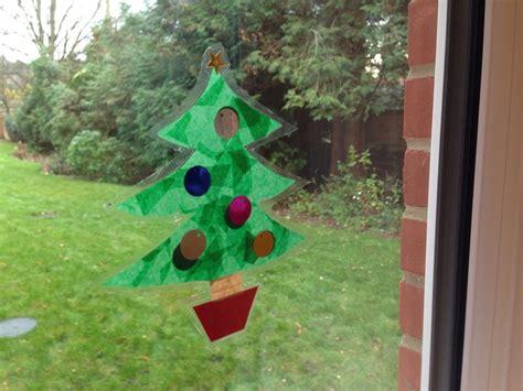 christmas tree window decoration  kid craft