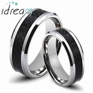 Carbon fiber wedding ring set mini bridal for Carbon fiber wedding ring set