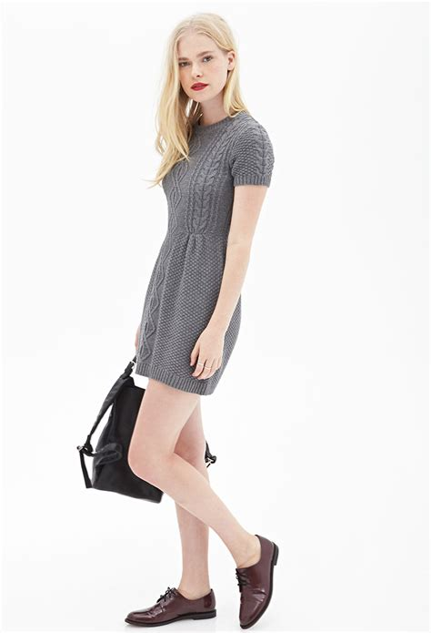 forever 21 sweater dress forever 21 cable knit sweater dress in gray lyst