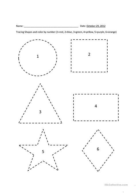 tracing shapes color  number worksheet  esl