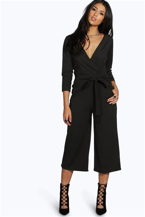womens jumpsuits boohoo womens roll sleeve relaxed culotte jumpsuit