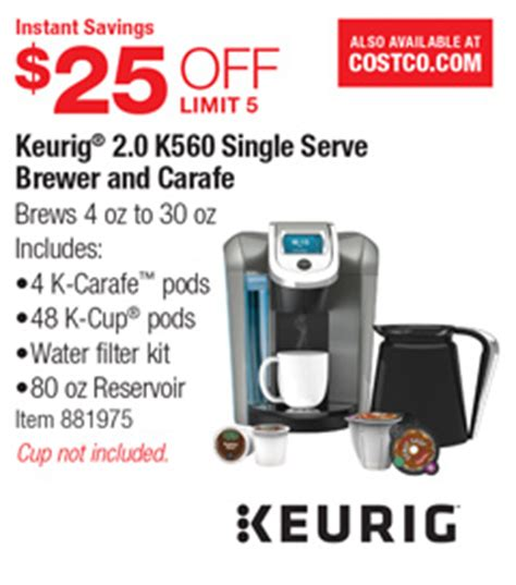 Costco Deal   Keurig 2.0 K560 Single Serve Brewer and Carafe   $25 OFF