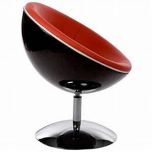 Design Dreh Sessel GAROE In Polyurethan Schwarz Und Rot