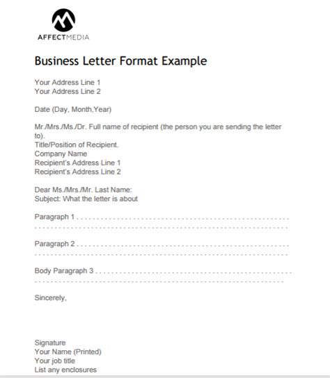 example of business letter business letter format example 21567 | business letter format example