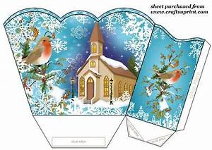 Blue Christmas Robins and Church Gift Basket CUP