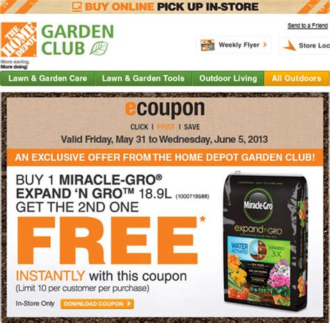 the home depot garden club coupon buy 1 miracle gro expand n gro get the 2nd one free
