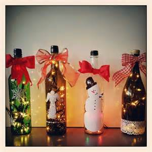 recycled wine bottle christmas decoration christmas
