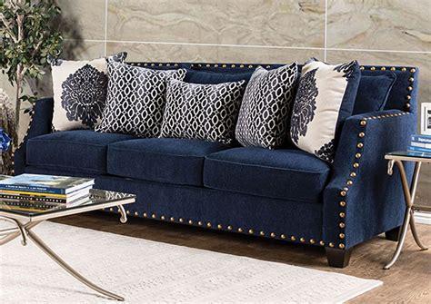 Nailhead Trim Loveseat by 280011 Cornelia Navy Nailhead Trim Sofa W Pillows