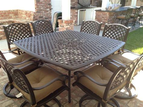 nassau cast aluminum powder coated 8 person patio dining