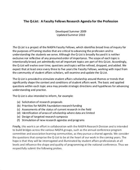 faculty research agenda