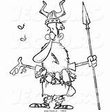 Spear Outline Coloring Viking Cartoon Skinny Holding Male Singing Toonaday sketch template