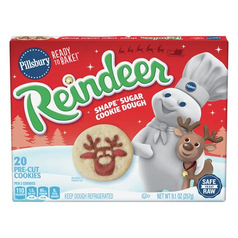 Enriched bleached flour (wheat flour, niacin, iron, thiamin mononitrate, riboflavin, folic acid), maltitol, leavening (baking soda, calcium phosphate, sodium aluminum phosphate), contains 2% or less of: Save on Pillsbury Ready To Bake Sugar Cookie Dough Reindeer Shape Pre-Cut - 20 ct Order Online ...