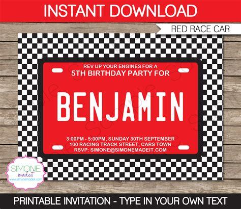 race car party printables invitations decorations