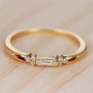 Baguette diamond engagement ring gold wedding band for Wedding ring minimalist