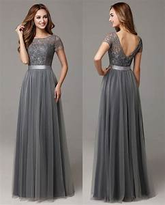 Grey long modest bridesmaid dresses with cap sleeves lace for Grey dresses for a wedding