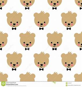 Happy Teddy Bear Seamless Pattern. Cute Vector Background ...