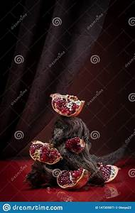 Modern Creative Food Photography - Pieces Of Ripe Pomegranate. Stock Image - Image of juicy ...