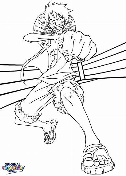 Coloring Luffy Piece Gomu Pages Pistol Anime