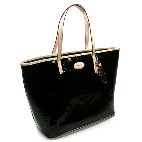 coach metro embossed leather large tote bag black