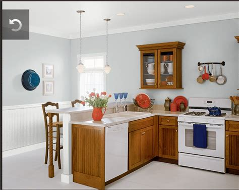 behr paint colors for kitchen with oak cabinets