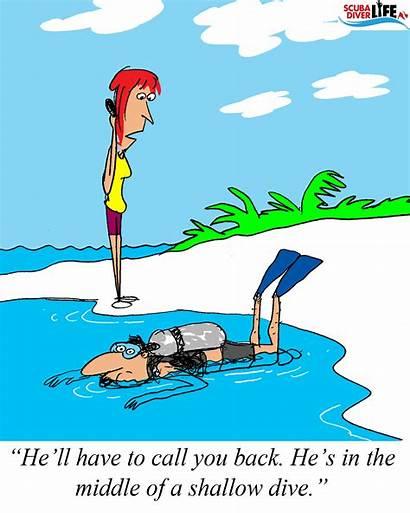 Scuba Diving Extreme Funny Cartoon Shallow Dive
