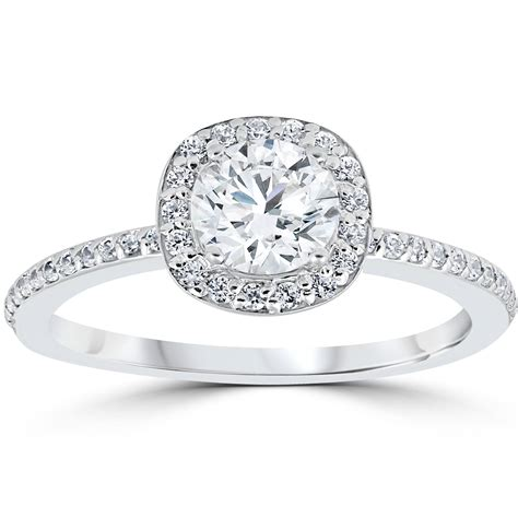 1ct engagement ring cushion halo vintage solitaire 14k white gold ebay